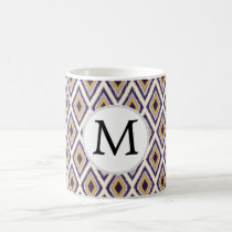 Purple and yellow Ikat personalized monogram Coffee Mug