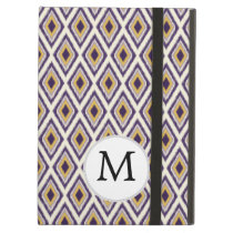 Purple and yellow Ikat personalized monogram iPad Air Case