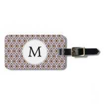 Purple and yellow Ikat personalized monogram Luggage Tag