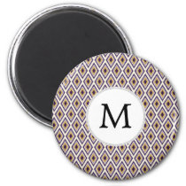 Purple and yellow Ikat personalized monogram Magnet