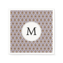Purple and yellow Ikat personalized monogram Paper Napkin