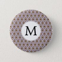 Purple and yellow Ikat personalized monogram Pinback Button