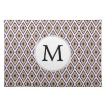 Purple and yellow Ikat personalized monogram Placemat