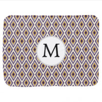 Purple and yellow Ikat personalized monogram Receiving Blanket