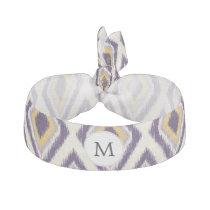 Purple and yellow Ikat personalized monogram Ribbon Hair Tie