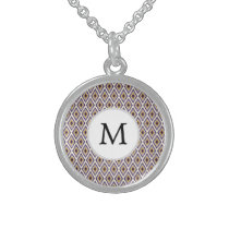 Purple and yellow Ikat personalized monogram Sterling Silver Necklace