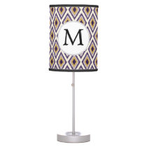 Purple and yellow Ikat personalized monogram Table Lamp