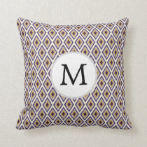 Purple and yellow Ikat personalized monogram Throw Pillow