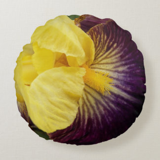 Purple and Yellow Iris Floral Round Pillow