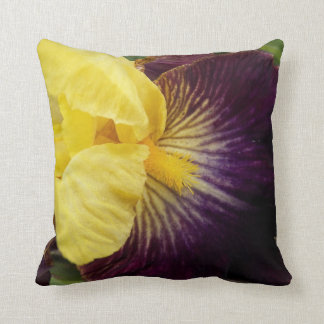 Purple and Yellow Iris Floral Throw Pillow