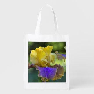 Purple and Yellow Iris Reusable Bag Market Totes