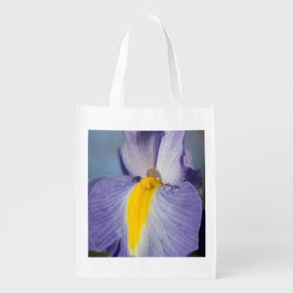 Purple and Yellow Iris with Raindrops Grocery Bag