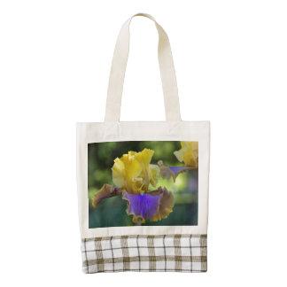 Purple and Yellow Iris Zazzle HEART Tote Bag