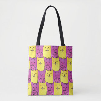 Purple And Yellow Kitty Tote Bag