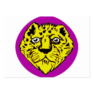 purple and yellow lion head graphic business card template