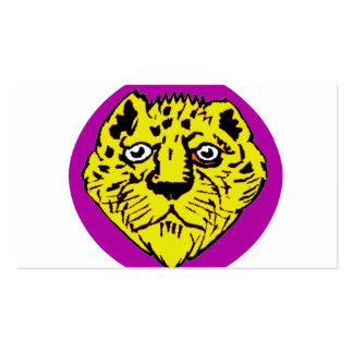 purple and yellow lion head graphic business cards