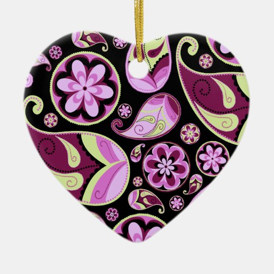 Purple and Yellow Paisley Ceramic Ornament