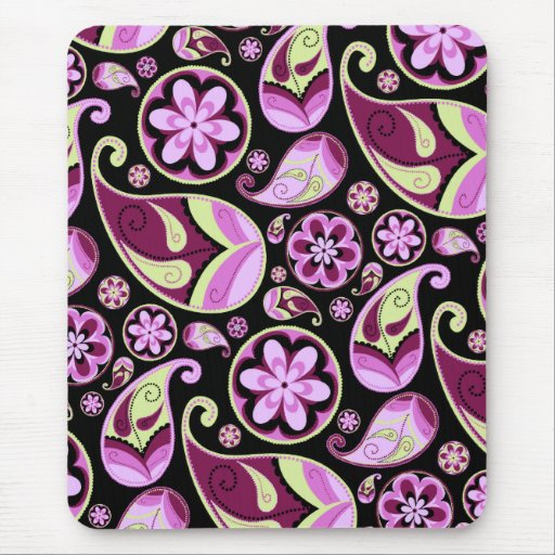 Purple and Yellow Paisley Mouse Pad