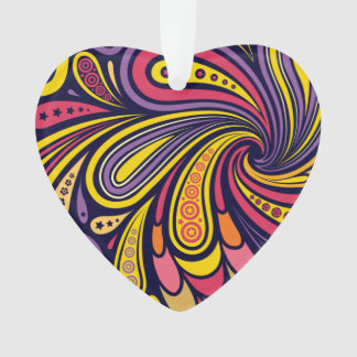 Purple and yellow paisley ornament
