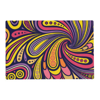 Purple and yellow paisley placemat