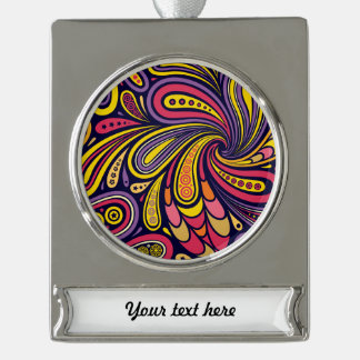 Purple and yellow paisley silver plated banner ornament
