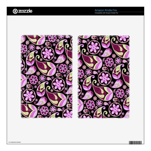 Purple and Yellow Paisley Skin For Kindle Fire