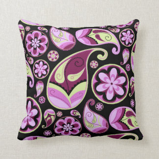 Purple and Yellow Paisley Throw Pillow