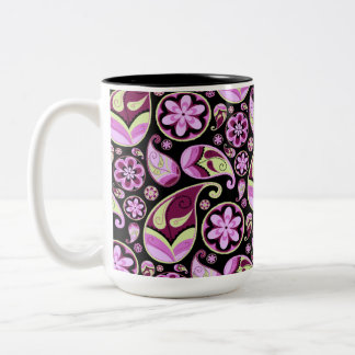 Purple and Yellow Paisley Two-Tone Coffee Mug