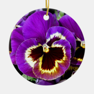 Purple and yellow pansy flower ceramic ornament