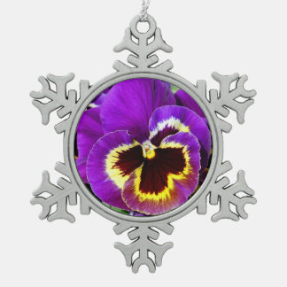Purple and yellow pansy flower snowflake pewter christmas ornament