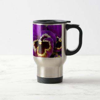 Purple and yellow pansy flower travel mug