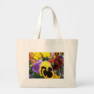 Purple and Yellow Pansy Flowers Bag
