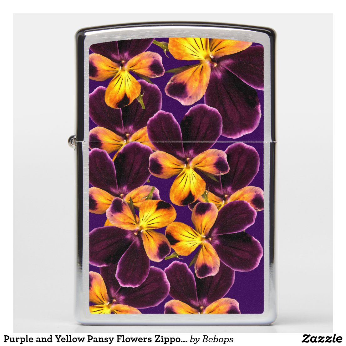 Purple and Yellow Pansy Flowers Zippo Lighter