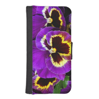 Purple and yellow pansy iphone wallet case