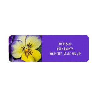 Purple and Yellow Pansy Return Address Label