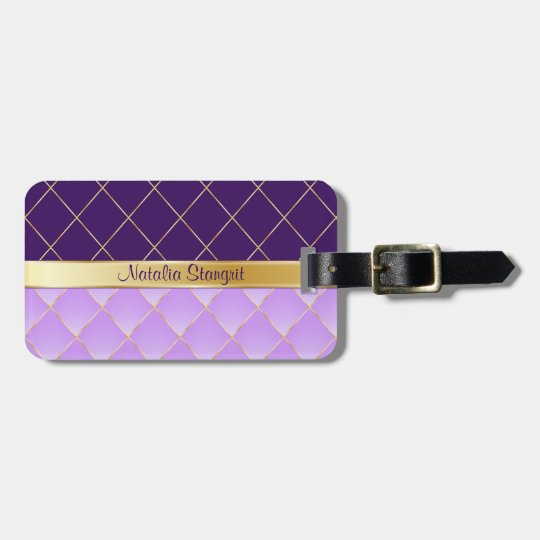 Purple and yellow pattern bag tag