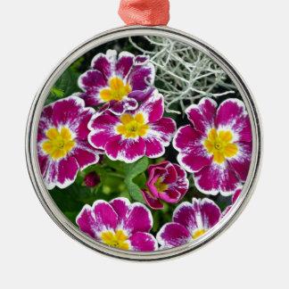 Purple and yellow primrose flowers metal ornament