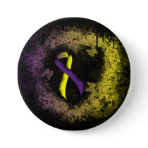 Purple and Yellow Ribbon Grunge Heart Button