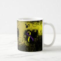 Purple and Yellow Ribbon Grunge Heart Coffee Mug