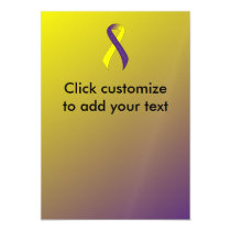 Purple and Yellow Ribbon Support Awareness Magnetic Card