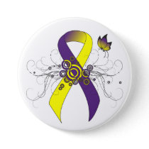 Purple and Yellow Ribbon with Butterfly Button