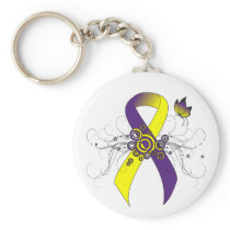 Purple and Yellow Ribbon with Butterfly Keychain