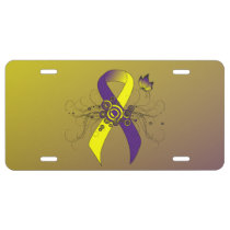 Purple and Yellow Ribbon with Butterfly License Plate