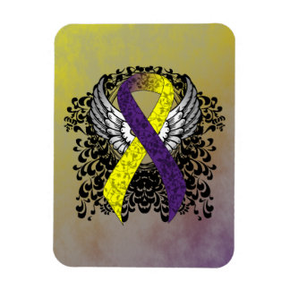 Purple and Yellow Ribbon with Wings Magnet