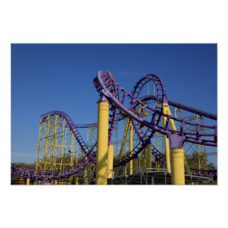 Purple and Yellow Roller Coaster Tracks Print