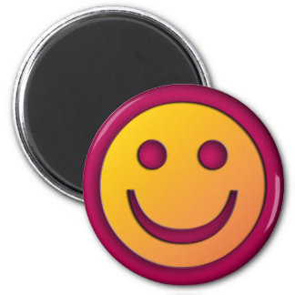 PURPLE AND YELLOW SMILEY FACE 2 INCH ROUND MAGNET