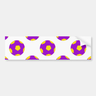 Purple and Yellow Soccer Ball Pattern Bumper Stickers