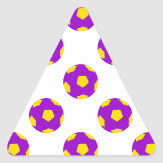 Purple and Yellow Soccer Ball Pattern Triangle Sticker