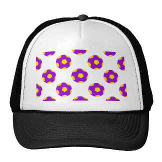 Purple and Yellow Soccer Ball Pattern Trucker Hat