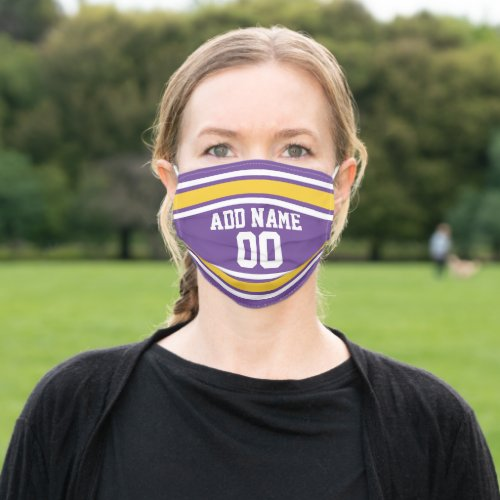 Purple and Yellow Sports Jersey Custom Name Number Cloth Face Mask